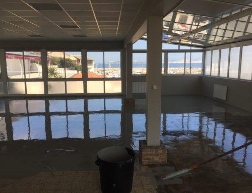 Rénovation sol en résine au centre nautique de Marseille